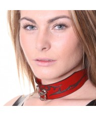 House Of Eros Lace Up Red Leather Tribal Collar Deeper