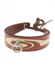 House Of Eros Swirl Pattern Collar Red And Cream With Ring