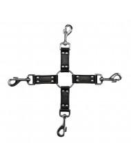 4Way Black Leather Hogtie Cross
